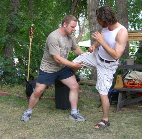 Me, working with Barry on his leg kick.
