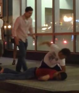 Body slam knockout in a street fight