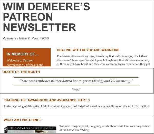 Patreon Newsletter Wim Demeere